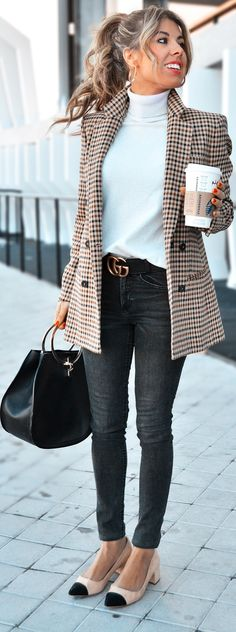 #spring #outfits white sweater, plaid brown jacket, grey jeans,