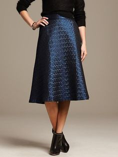 Blue Metallic Jacquard Midi Skirt