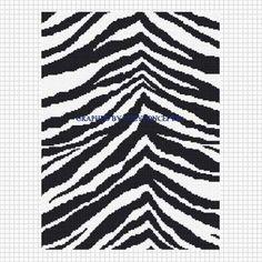 ZEBRA BLACK WHITE ANIMAL PRINT CROCHET AFGHAN PATTERN GRAPH .PDF