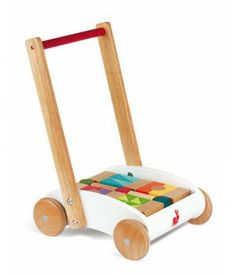 The Janod Push Along Cart is a lovely sleek and stylish traditional toy. This baby walker comes complete with the building blocks #woodentoys #babywalker #buildingblocks