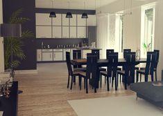 uA7 - w projekcie tym nowoczesna bryła skrywa przestronną i wygodnie urządzoną kuchnię połączoną z jadalnią i salonem #domowy #domowypl #projketdomu #duzydom #plaskidach #nowoczesnydom #nowosc #nowydom #stropodach #dwaauta #garaz  #zgarazem
