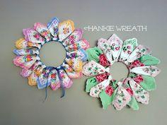 To Make A Hankie Wreath - Bumblebee Linens Hanky Wreath DIY Tutorial. Embroidery Transfers, Embroidery Patterns, Embroidery Stitches, Hand Embroidery, Fabric Crafts, Sewing Crafts, Diy Wreath, Wreaths, Wreath Ideas