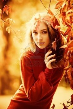 Autumn portrait of beautiful young girl Stock Photo