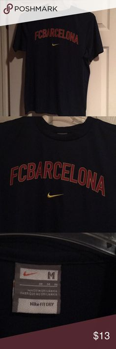 Men's Nike FC Barcelona Polyester Shirt Size M Looking to rep your favorite team? Listed is a Men's Nike FC Barcelona Shirt Size Medium that is 100% polyester. Perfect for your next workout! This shirt was only worn a couple of times so it is like new. Nike Shirts Tees - Short Sleeve