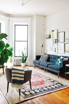 Tufted navy living room couch