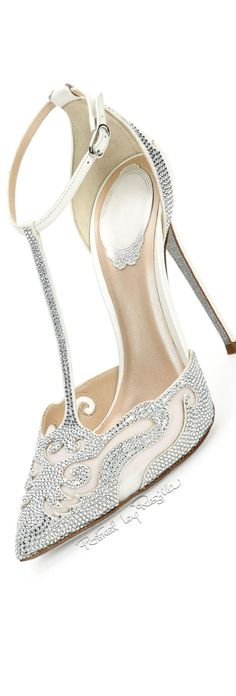 Rhinestone embellished heels #wedding-pinned by wedding decorations specialists http://dazzlemeelegant.com