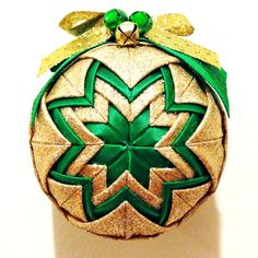 Green & Gold  Handmade Quilted Ornament by Traceritops on Etsy, $18.00 #christmas