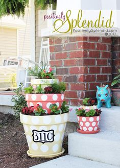 Love putting the stree # on the cute terra cotta pot... its almost my address too :) So cute for house warming gifts ! This would be great with the  numbers painted with glow in the dark paint.