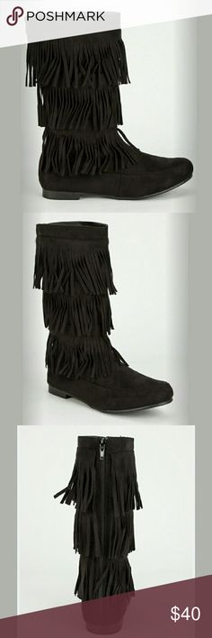 """⚫BLACK LAYERED FRINGE BOOTS⚫- MID CALF-NIB ⚫Moccasin style suede boots ⚫Back zipper for easy on & off ⚫Heel Height 0.5"""" ⚫Shaft 11.5"""" ⚫Man made non-stick sole/ padded sole ⚫Opening circumference Approximately  15-18""""❤✌ BOTIQUE  Shoes Moccasins"""
