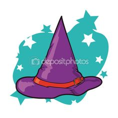 Colorful Witch Hat with Stars, Vector Illustration — Stock Illustration #88335764