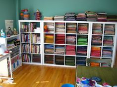 ikea expedit as fabric storage. any kind of craft storage. Sewing Room Design, Sewing Room Storage, Sewing Spaces, Sewing Rooms, Fabric Storage, Craft Storage, Paper Storage, Ikea Expedit Shelf, Ikea Regal Expedit