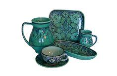 turquoise spanish dinnerware