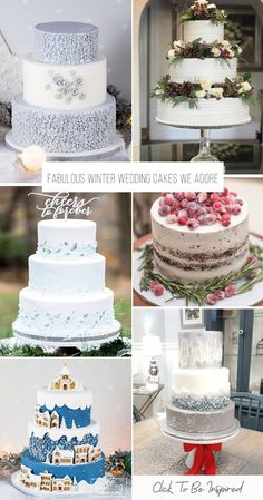 We recommend seasonal ideas. Take a look on these winter wedding cakes with pine cones, holly & berries under the snow and of course snowflakes and icicles.#weddingforward #wedding #bride #weddingcakes