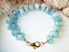 Aquamarine bracelet gold jewelry OOAK by oneoffcreations on Etsy, $40.00