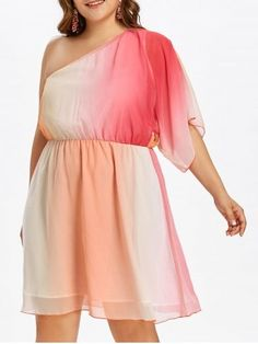 Plus Size Ombre Print One Shoulder Chiffon Dress Summer Color Block Batwing Sleeves A-Line Dress Women Clothing 2018 Multi 4 Cheap Cocktail Dresses, Plus Size Cocktail Dresses, Plus Size Dresses, Plus Size Outfits, Nice Dresses, Casual Dresses, Summer Dresses, Casual Wear, Colorblock Dress