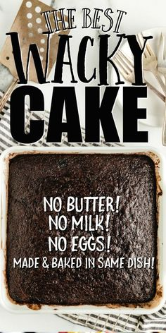 Crazy Cake Recipes, Homemade Cake Recipes, Crazy Cakes, Icebox Cake Recipes, Dessert Recipes, Party Recipes, Wacky Cake, Cake Ingredients, Cupcake Cakes