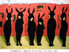 「六体のロバ」 08年、アクリル画 . インド旅行をしたときに出来たイメージです。 「 あの緑のキャンバスに ピンク色の石壁、 六体の黒いロバ ロバたちの暮らしは貧しい けど ロバたちの心はおだやか Courtesy: Tsubasa Hirose, Nagoya (Japan).