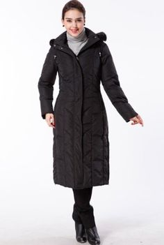 BGSD Women's Long Hooded Down Parka Coat with Faux Fox Fur Trim in Black or Brown BGSD, Price:	$380.00  Sale:	$99.99