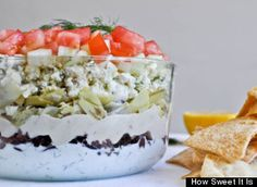 Greek layer dip Review: This is a great twist on a seven layer dip.  Be sure to make the zesty feta dip in the recipe!