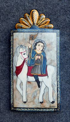Joan of Arch Retablo Colonial Art, Spanish Colonial, Altar, Spanish Art, Spirited Art, Mexican Folk Art, Artworks, Icons, Board