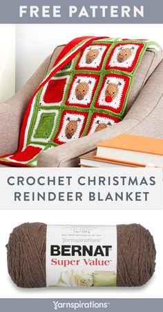 Free Crochet Chistmas Reindeer Blanket pattern using Bernat Super Value yarn. Complete with Rudolph the red nose reindeer, this blanket invites the holidays, and a whole lot of cuddling. Designed by by Sarah Zimmerman of Repeat Crafter Me, this project will bring out your festive spirit and create some smiles. #Yarnspirations #FreeCrochetPattern #CrochetAfghan #CrochetThrow #CrochetBlanket #ChristmasCrochet #HolidayCrochet #DIYChristmas #BernatYarn #BernatSuperValue Bernat Super Value Yarn, Bernat Yarn, Free Crochet, Crochet Hats, Repeat Crafter Me, Holiday Crochet, Rudolph The Red, Red Nosed Reindeer, Zimmerman