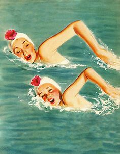 rogerwilkerson: Synchronized Swimmers - art by Al Parker Vintage Swim, Vintage Art, Pin Up, Sink Or Swim, Synchronized Swimming, Water Pictures, Retro Mode, Lunar Eclipse, Swimming Holes