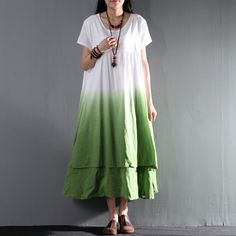 2016 sundress long linen maxi dress gradient green causal summer dressThis dress is made of cotton or linen fabric, soft and breathy, suitable for summer, so loose dresses to make you comfortable all the time.Measurement:  Size L length 118cm / 46.02
