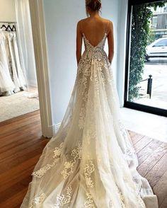 Spaghetti V-neck Long A-line Appliques Tulle Gorgeous Cheap Wedding Dr – SofitBridal