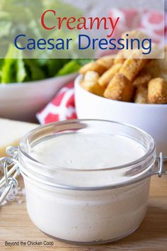 A delicious version of a classic Caesar dressing. This creamy dressing is full of flavor and makes a delicious Caesar salad. Salad Dressing Recipes, Salad Dressings, Caesar Salad, Ranch Dressing, Meal Planner, Diabetic Recipes, Sauces, Food Processor Recipes, Dips