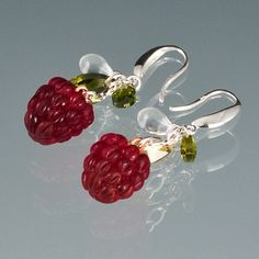 """Red Raspberry Earrings With Cubic Zirconia """"Leaves"""""""