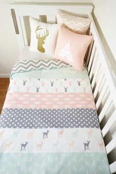 Faux Patchwork quilt nursery set Mint blush and by MamaAndCub Patchwork Table Runner, Patchwork Blanket, Patchwork Baby, Blue Quilts, Crib Quilts, Small Quilts, Baby Room Colors, Blush And Grey, Color Combos