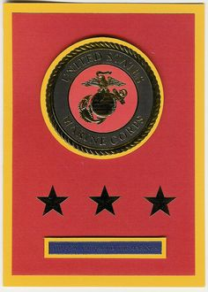 Unites States Marine Corps Insignia Card by ChainMailandMore. 25% of proceeds from the sale of all military cards are donated to the Wounded Warrior Project and the Special Operations Warrior Foundation.