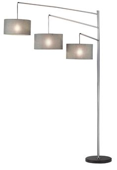 Features:  -Shade material: Fabric.  -Shape: Drum.  -Four-way rotary switch on the pole operates right only, left and center only, all on and all off.  -Finish: Smooth brushed steel.  -Shade color: Ch