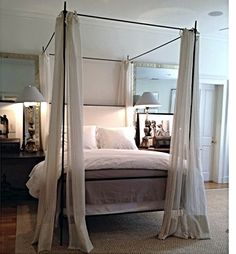 Tara Shaw : A Midsummer Night's Dream - Iron Louis XVI Canopy Bed with Upholstered Headboard