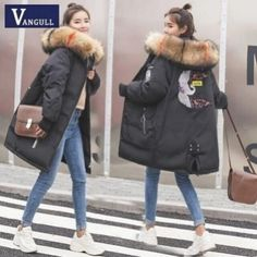 Fashion casual women's clothing 2019 winter hooded zipper wide-waist female coats thick with warm jacket women long parkas - white xxxl Winter Outfits Women, Winter Jackets Women, Coats For Women, Clothes For Women, Winter Stil, Casual Winter, Long Parka, Womens Parka, Love Clothing