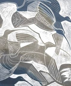 Curlews (wading birds) by Tessa Charles, linocut