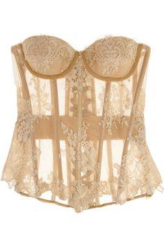 Rosamosario Nudita Ricca Chantilly lace-trimmed tulle corset - freya lingerie, lingerie on women, lingerie ladies *sponsored