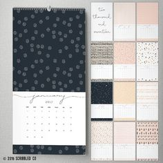2017 Monthly Wall Calendar 9.5 x 17.25 Wall by ScribbledCo on Etsy
