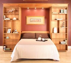bedroom storage, guest bed, bedroom headboards, murphy beds, organized home, librari, guest rooms, wall unit, wall beds