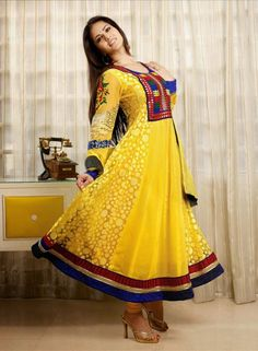 Buy Bollywood Designer Sunny Leone Anarkali Dress In Yellow $72.59 . Buy at - bollywood-ankle-length-anarkali.blogspot.co.uk/2014/06/buy-bollywood-designer-sunny-leone.html