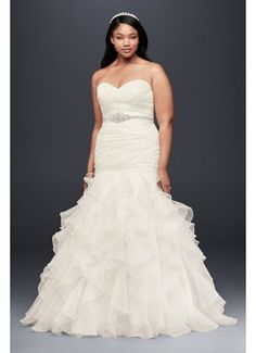 As-Is Ruffled Organza Plus Size Wedding Dress - Precise pleats and romantic ruffles offer a contrast Wedding Dresses Plus Size, Plus Size Wedding, Bridal Dresses, Wedding Dress Organza, Wedding Gowns, Formal Wedding, Dress Lace, Dream Wedding, Peacock Wedding
