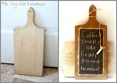 "The Cozy Old ""Farmhouse"": Wooden Cutting Board Makeover and Repurpose"