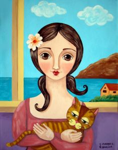 """""""Girl With Her Cat 2"""" by Claudia Garcia"""
