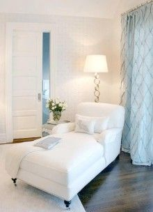 YUP my next home is going to be ALL white - it's so peaceful and calming and I LOVE it ... hubby isn't on board ... yet!!! ;)     OK maybe not ALL white - love that pop of blue with the curtains and the chocolate floor to ground everything - swoon!