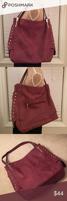 Gussaci✨Studded Shoulder Bag This faux leather bag is roomy and in great condition. It is a dark cranberry color, gold hardware. One outside zipper compartment, as well as one inside and two open pouches. Gussaci Bags Shoulder Bags