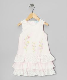 This Light Pink Floral Embroidered Tier Dress - Infant & Toddler is perfect! #zulilyfinds