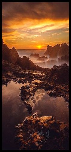 Every surface turned gold #photo by  ScorpioOnSUP #sunset sunrise sun sunlight sky clouds rock rocks water reflection landscape seascape nature amazing yellow orange