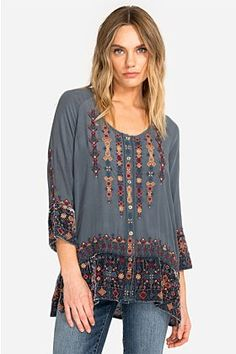 online shopping for Johnny Was Women's Vika Mixed-Media Velvet & Silk Blouse from top store. See new offer for Johnny Was Women's Vika Mixed-Media Velvet & Silk Blouse Long Sleeve Henley, Short Sleeve Blouse, Johnny Was, Blouse Online, Embroidered Silk, Blouse Styles, Chiffon Tops, Floral Tops, Tunic Tops