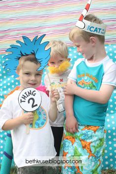 Some cute ideas! Dr. Seuss Birthday Party Ideas | Photo Op with Thing 1, Cat in the Hat and The Lorax.  | From Catch My Party