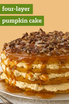 Luscious Four-Layer Pumpkin Cake – First pie, now this: A jaw-dropping pumpkin cake recipe with pecans, caramel and cream cheese. Seal pumpkin's place in the holiday baking hall of fame as the best ingredient ever with this dessert.